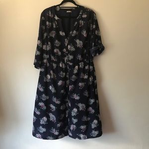 Appareline Floral Button Down Dress